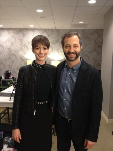 Judd Apatow posed with Anne Hathaway backstage. Source: Twitter user JuddApatow