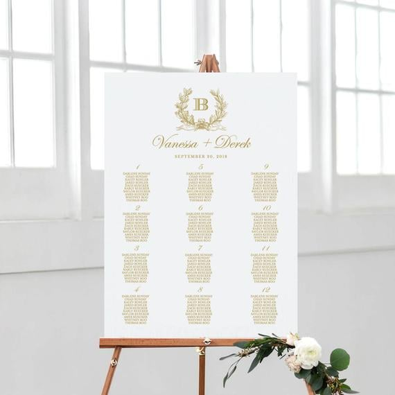 Vintage Seating Chart Sign