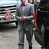Ed Westwick stepped onto the set of Gossip Girl in NYC.