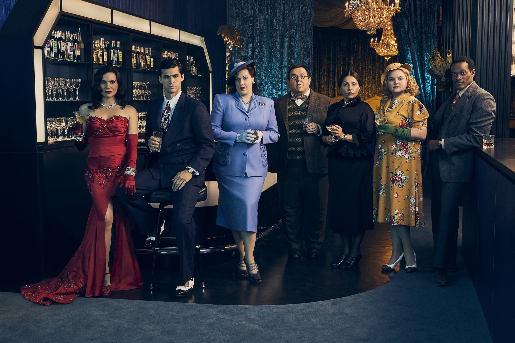 Pictured: Lana Parrilla as Rita, Matthew Daddario as Scooter, Allison Tolman as Alma, Nick Frost as Bertram, BK Cannon as Dee and Jordane Christie of the Paramount+ series WHY WOMEN KILL Photo Cr: Sarah Coulter/ ©2021 Paramount+, Inc. All Rights Reserved.