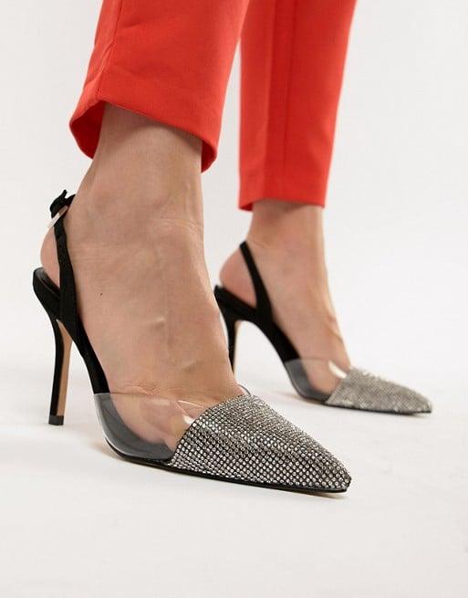 111ee139c96dca ALDO Sywiel Black Embellished Pointed Toe Slingback Heels