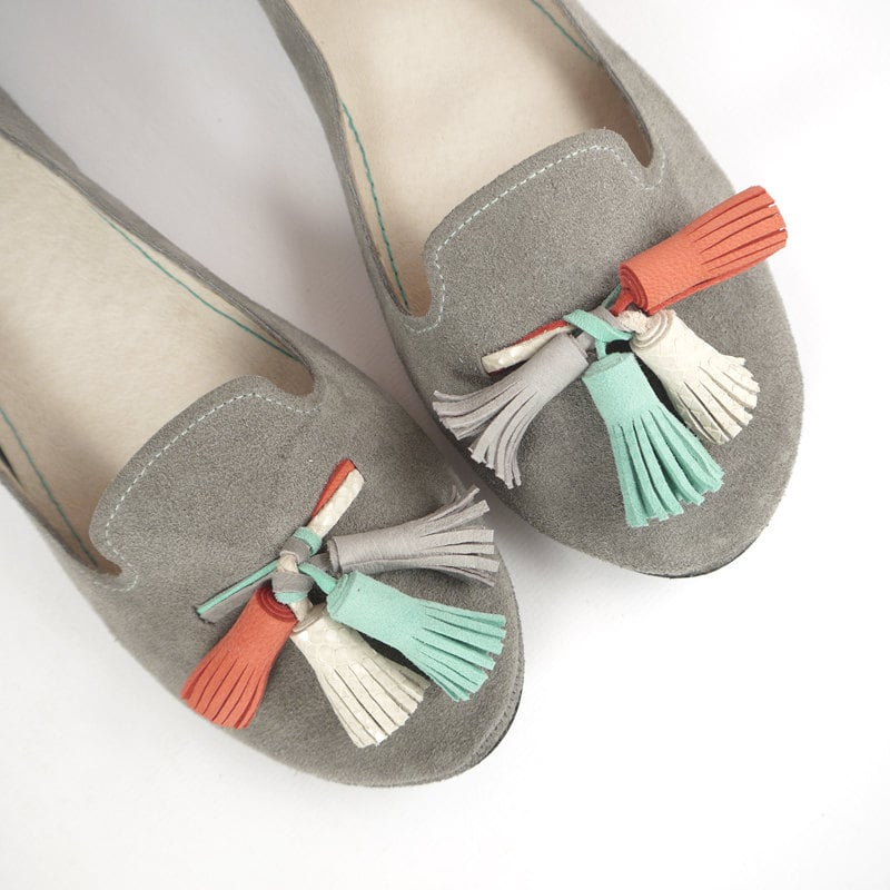 I am positively smitten with these gray suede loafers ($168). Just look at those tassels — too cute! — Tara Block, assistant editor