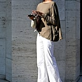 White wide-leg pants gave an olive-hued top a lighter touch.