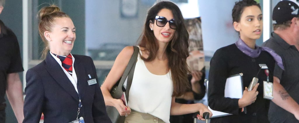 Amal Clooney Black Mules at the Airport 2018