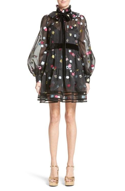 For an evening wedding, wear this Marc Jacobs Licorice Fil Coupé Balloon Sleeve Dress ($2,600).