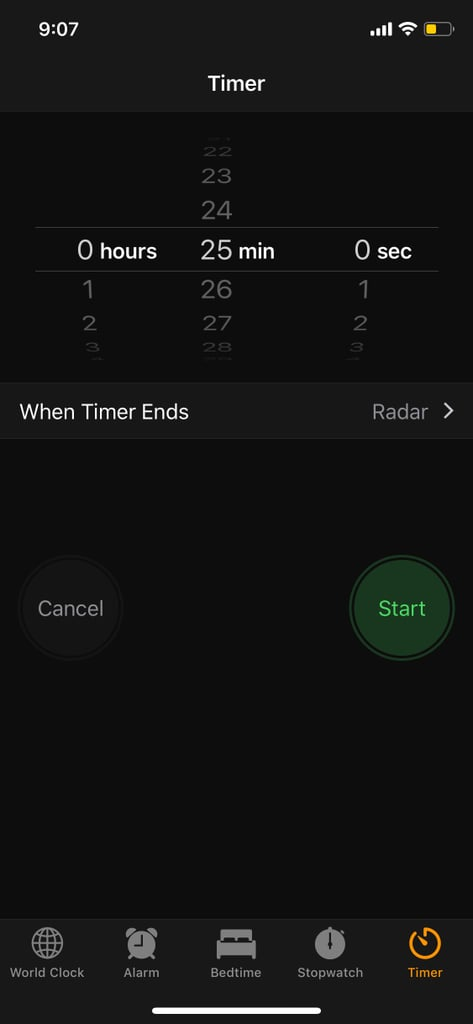 """Select the Timer Tab, Set the Timer, and Click """"When Timer Ends"""""""