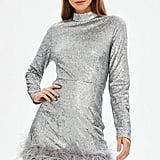 Missguided Silver All Over Sequin Feather Hem Bodycon Dress
