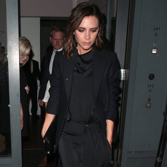 Victoria Beckham Wearing Blue Suit From Victoria Beckham