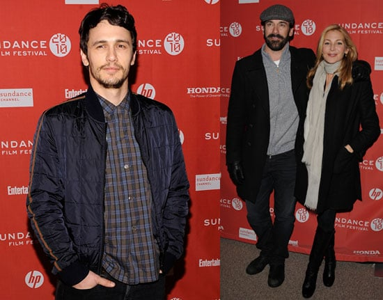 Photos of Jon Hamm and James Franco on the red carpet at the premiere of Howl at the 2010 Sundance Film Festival