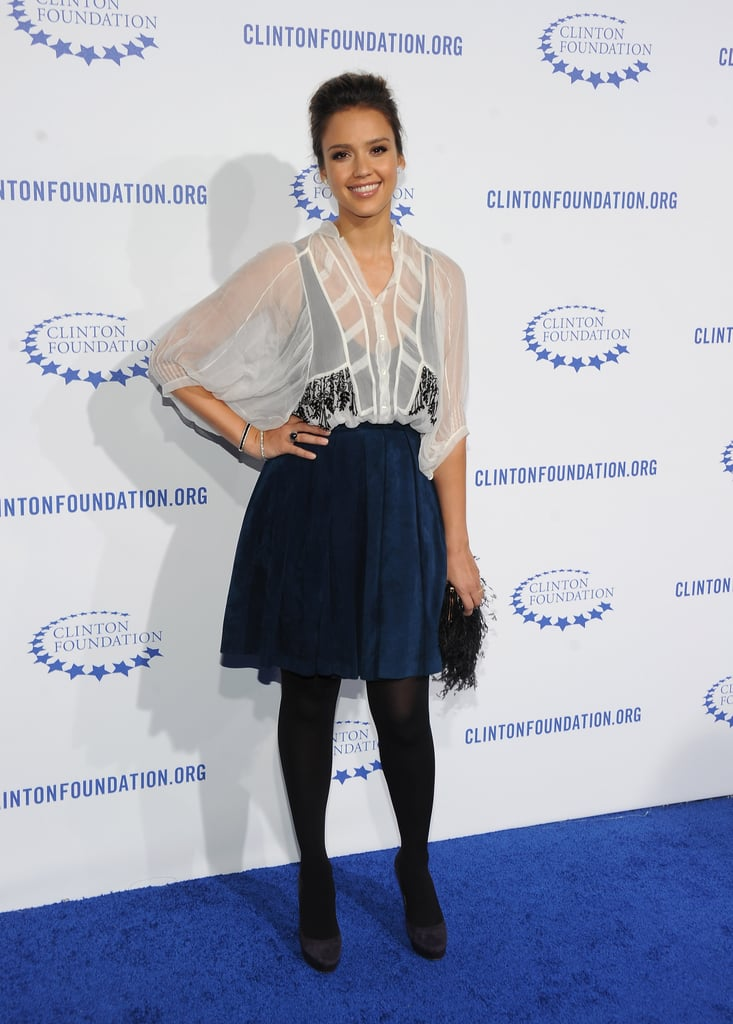 Jessica Alba wore navy and white to the gala.
