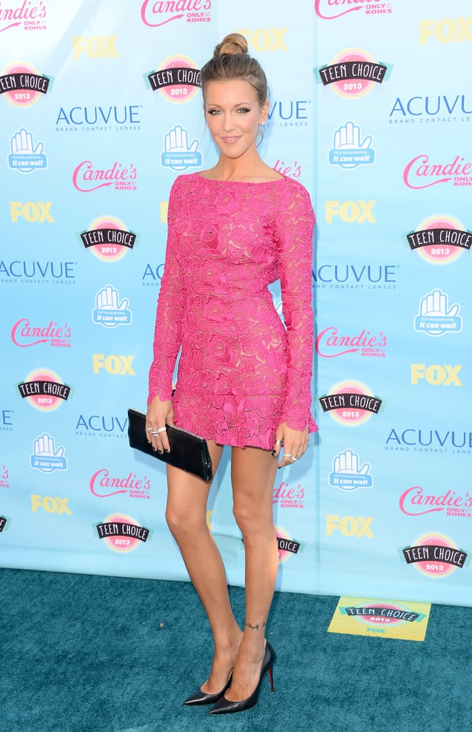 For the 2013 Teen Choice Awards, Katie Cassidy flexed her feminine muscle in a lacy Zuhair Murad mini accessorized with pointed pumps and a basic clutch. Where to Wear: Dinner and a movie.