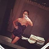 """""""Home and pretending to be Beyoncé,"""" Chrissy captioned this pic of her in a sparkly minidress. Source: Instagram user chrissyteigen"""