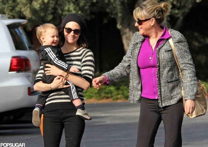 January Jones carried Xander for a stroll in LA with her mom, Karen.