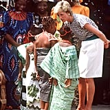 In March 1990, Diana talked with a group of young girls while attending the Rural Women's Fair in Tafawa Balewa Square, Lagos.