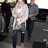 Matt and Luciana Damon at LAX.