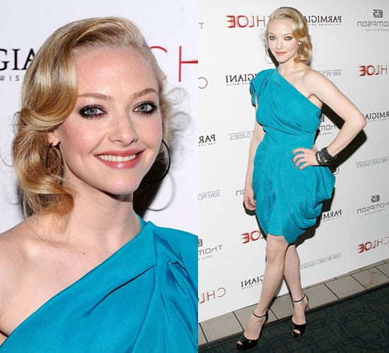 Photos of Amanda Seyfried in Turquoise RM by Roland Mouret Dress at Chloe NYC Premiere