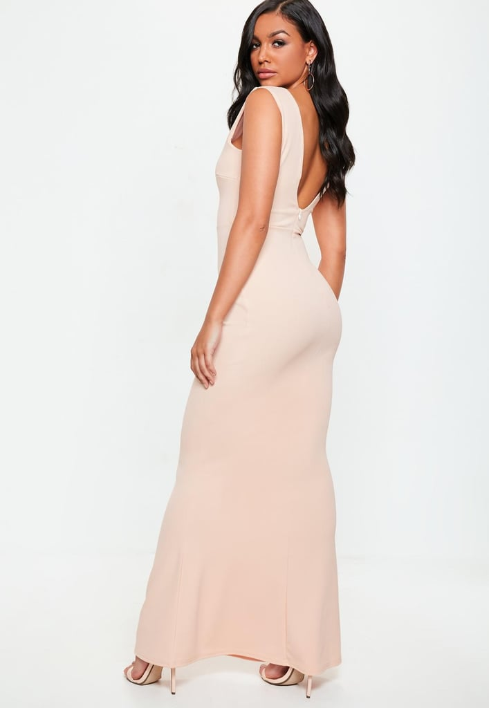 Missguided Nude Pink V Plunge Maxi Dress