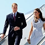 Kate and William arrive from Canada.