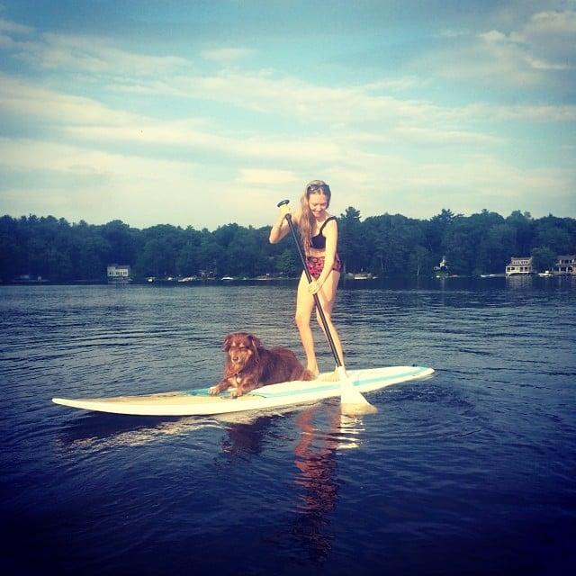 Amanda Seyfried paddled along with her dog, Finn. Source: Instagram user mingey