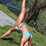 She showed off some impressive yoga moves while wearing a two-piece in September 2014.