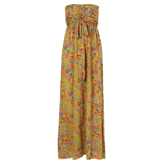 """>> A crochet knit cardigan and chunky wooden bangles mesh perfectly with the bohemian vibe of this sweetly-printed strapless dress. Rare Origami Maxi Dress, $84 Looks chic with: <iframe src=""""http://widget.shopstyle.com/widget?pid=uid5121-1693761-41&look=3353577&width=3&height=3&layouttype=0&border=0&footer=0"""" frameborder=""""0"""" height=""""244"""" scrolling=""""no"""" width=""""286""""></iframe>"""