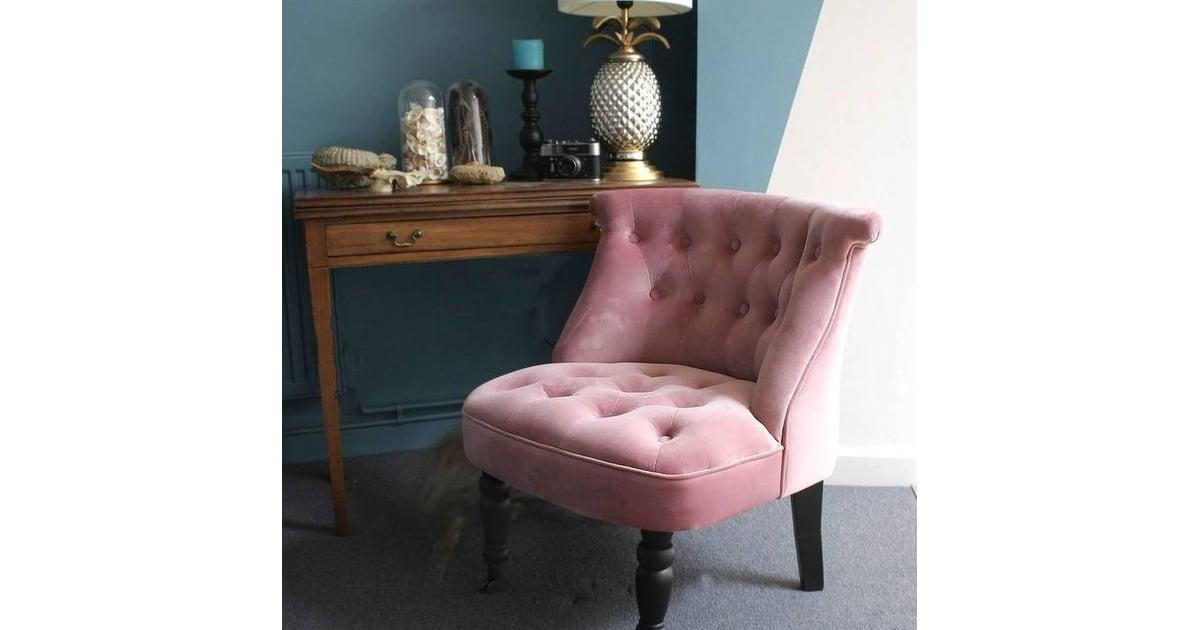 Ella James Dusky Pink Velvet Button Back Bedroom Chair
