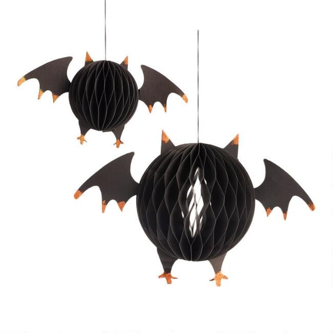 Honeycomb Paper Bats Hanging Decor Set of Two