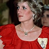 Princess Diana wearing the Royal Family Order of the Queen in 1983.