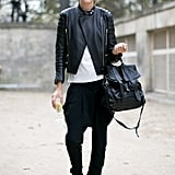 Edgy accents and a Proenza Schouler bag add up to a killer off-duty moment.