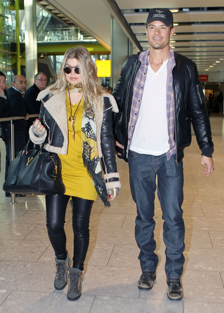 Pregnant Fergie and husband Josh Duhamel touched down in London earlier today. She kept things chic in a yellow jersey dress, leather leggings, and a shearling jacket, while Josh went for a more casual look. This is the couple's first public appearance since their big news — they announced yesterday over Twitter that they are expecting their first child.  Josh and Fergie are in London to do promotion for Josh's new film Safe Haven. Josh and costar Julianne Hough will discuss their film tonight at an Apple Store in the English capital. The movie is out in the UK on March 1 after coming out in the US on Valentine's Day. It was No. 2 at the box office in its first weekend of release. Fergie and Josh just narrowly missed London Fashion Week, which wraps up today. However, there have been plenty of other celebrities at London Fashion Week including Rihanna, Victoria Beckham, and Salma Hayek.