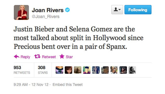 Joan's response to the Justin/Selena breakup.