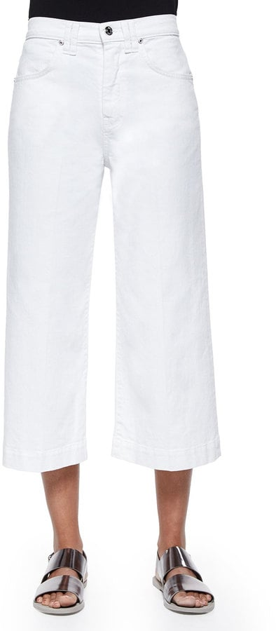 7 For All Mankind Wide-Leg Denim Culottes, Runaway White ($US215)