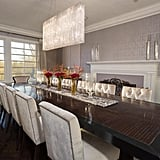 The spacious dining room can accommodate 12 or more guests comfortably.