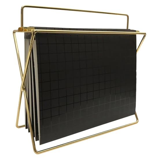 Black and Gold Hanging File Holder With Folders