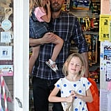 Ben Affleck left a store with his daughters in LA.