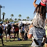 A girl got a piggy-back ride at Coachella in 2015.
