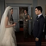Leighton Meester as Blair Waldorf, Margaret Colin as Eleanor, and Ed Westwick as Chuck Bass on Gossip Girl.  Photo courtesy of The CW
