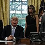Melania Trump in Black Button Dress