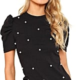 Romwe Pearl Embellished Top