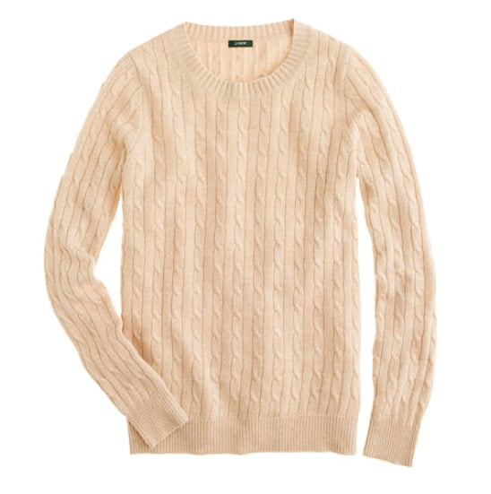 A classic cable crewneck sweater in a go-with-everything shade of ivory — yes, no question this J.Crew Cambridge sweater ($66) is a Fall must have.