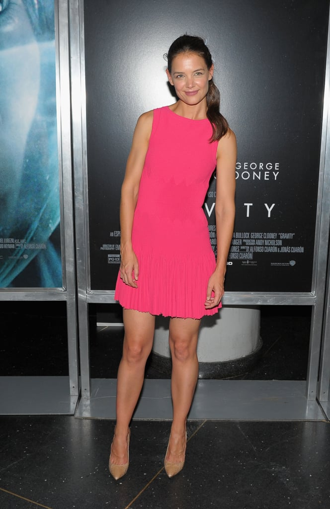 Katie Holmes wore a hot pink dress to the Gravity premiere.