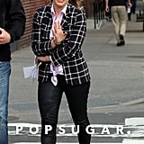 Hilary Duff spent her Wednesday on the NYC set of Younger.