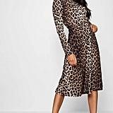 Boohoo Lianna Leopard Print Long Sleeve Midi Dress