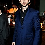 Dan Stevens attended a party in a blue suit.