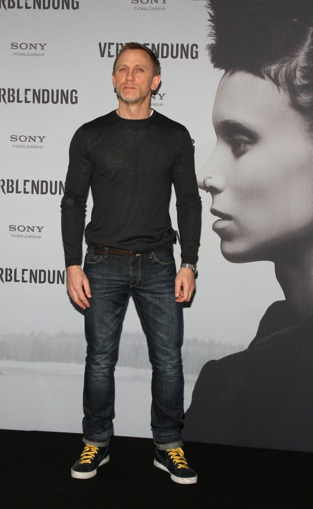 Daniel Craig kept it casual at a Girl With the Dragon Tattoo photocall in Berlin.