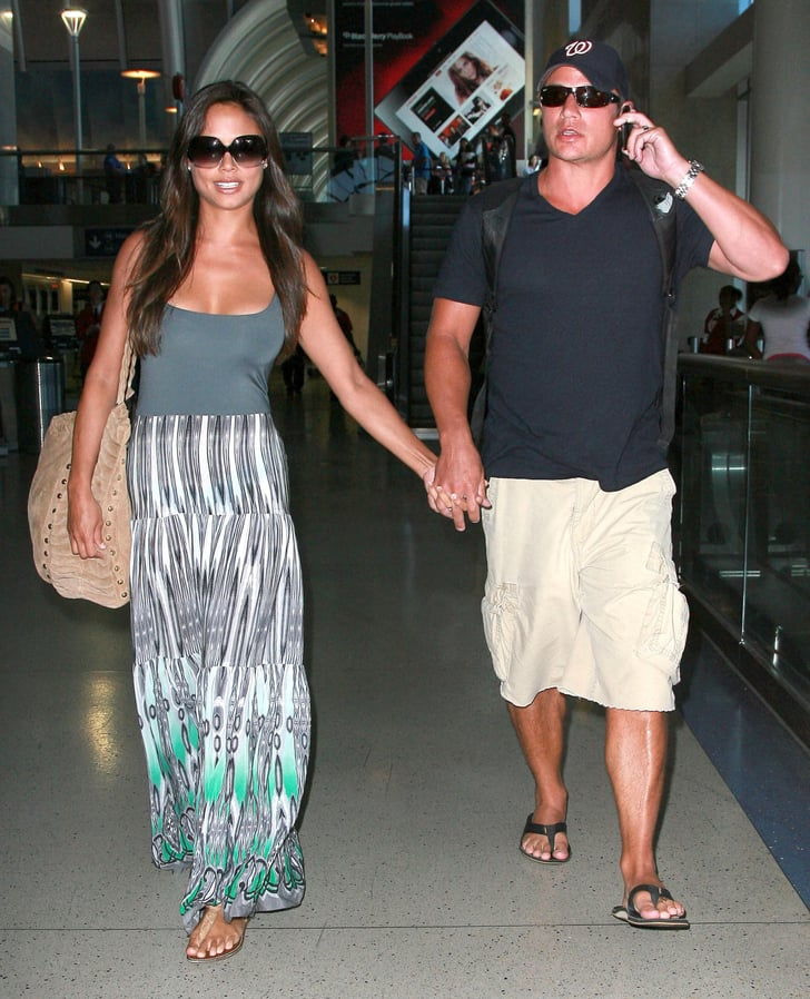 Nick Lachey and Vanessa Minnillo home from St. Bart's.
