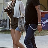 Kate at this year's Glastonbury festival in cutoffs and booties.