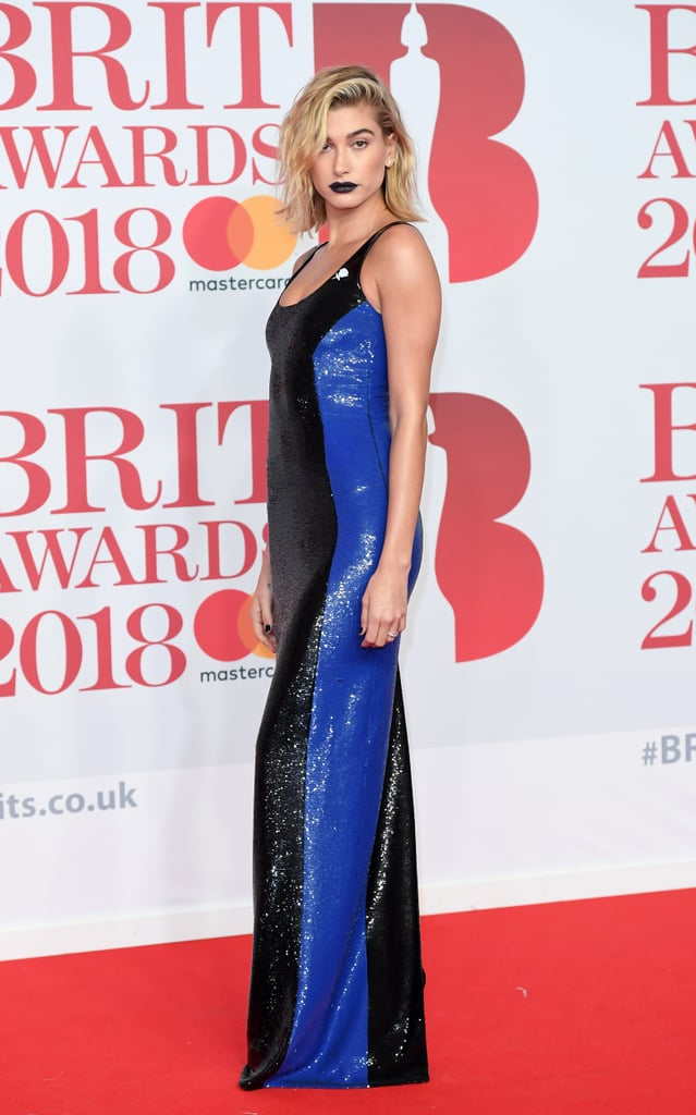 At the February 2018 Brit Awards in London, Hailey rocked a sequinned paneled Ralph Lauren gown.
