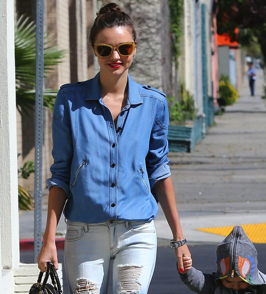 score the red or bronze version here ($395) — added much-needed sparkle to her denim ensemble in LA.