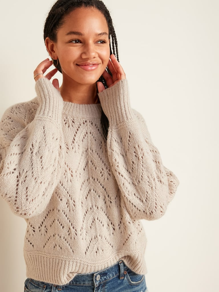 Cozy Pointelle-Knit Crew-Neck Sweater